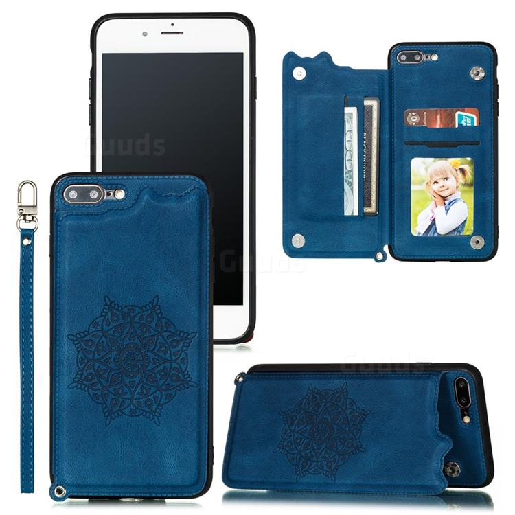 Luxury Mandala Multi-function Magnetic Card Slots Stand Leather Back Cover for iPhone 8 Plus / 7 Plus 7P(5.5 inch) - Blue