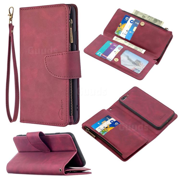 Binfen Color BF02 Sensory Buckle Zipper Multifunction Leather Phone Wallet for iPhone 8 Plus / 7 Plus 7P(5.5 inch) - Red Wine