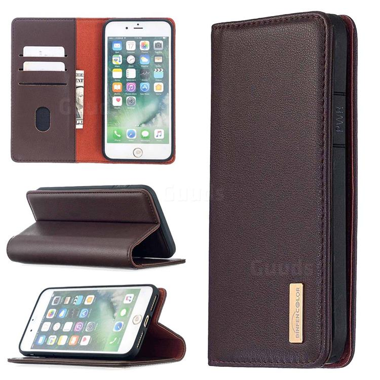 Binfen Color BF06 Luxury Classic Genuine Leather Detachable Magnet Holster Cover for iPhone 8 Plus / 7 Plus 7P(5.5 inch) - Dark Brown
