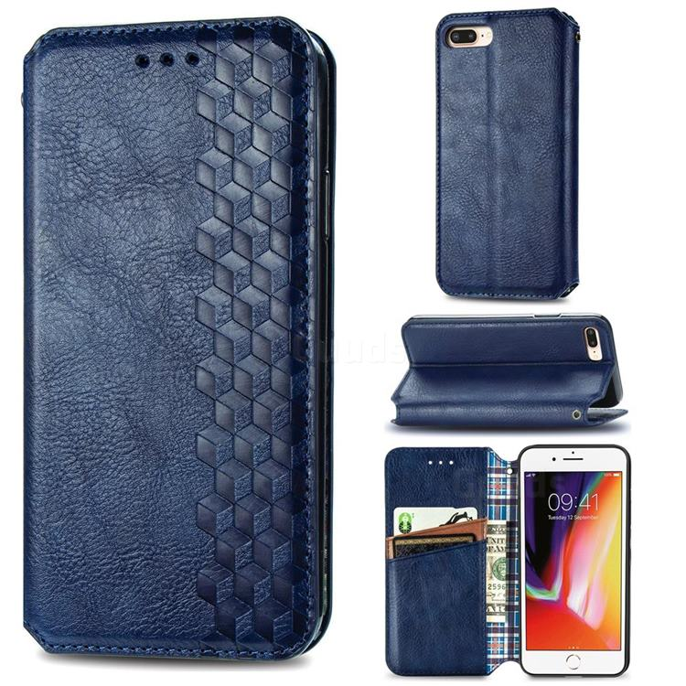 Ultra Slim Fashion Business Card Magnetic Automatic Suction Leather Flip Cover for iPhone 8 Plus / 7 Plus 7P(5.5 inch) - Dark Blue