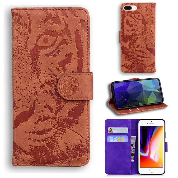 Intricate Embossing Tiger Face Leather Wallet Case for iPhone 8 Plus / 7 Plus 7P(5.5 inch) - Brown