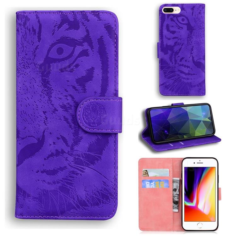 Intricate Embossing Tiger Face Leather Wallet Case for iPhone 8 Plus / 7 Plus 7P(5.5 inch) - Purple