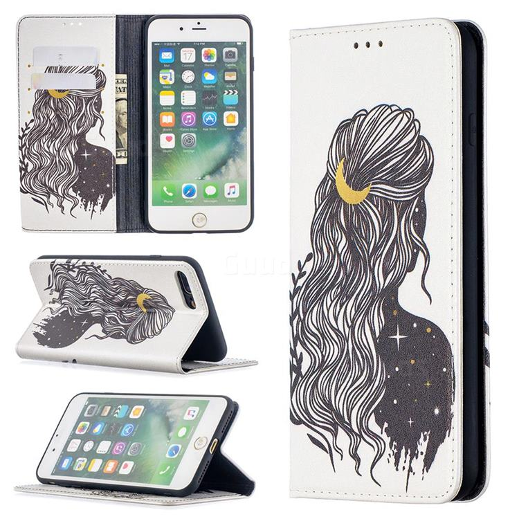 Girl with Long Hair Slim Magnetic Attraction Wallet Flip Cover for iPhone 8 Plus / 7 Plus 7P(5.5 inch)
