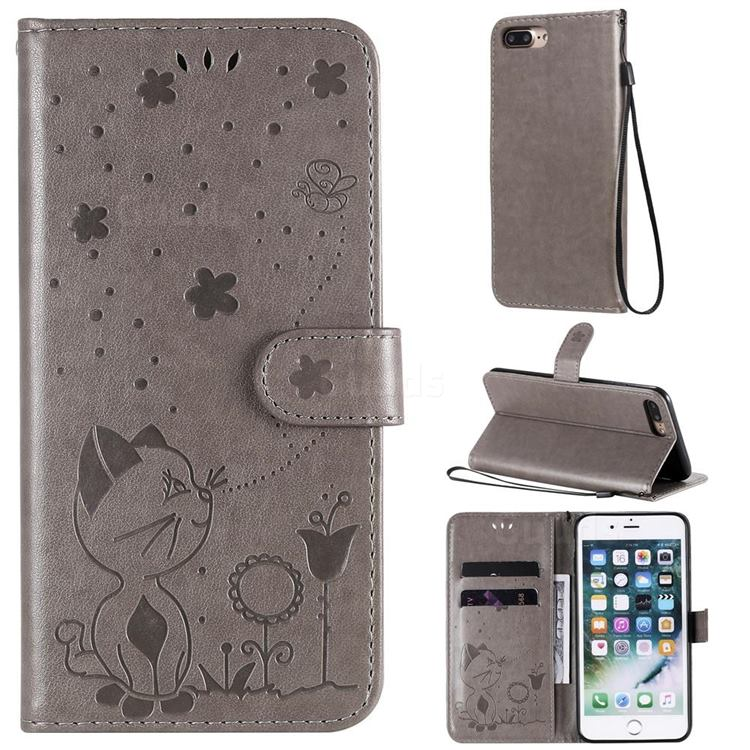 Embossing Bee and Cat Leather Wallet Case for iPhone 8 Plus / 7 Plus 7P(5.5 inch) - Gray