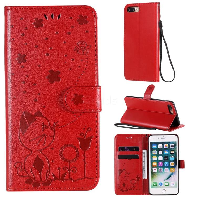 Embossing Bee and Cat Leather Wallet Case for iPhone 8 Plus / 7 Plus 7P(5.5 inch) - Red