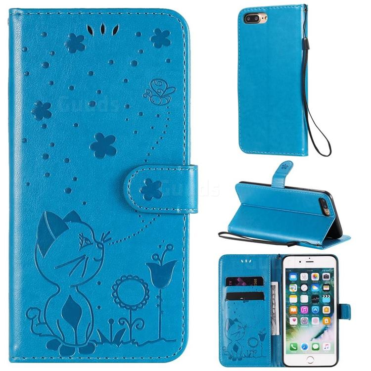 Embossing Bee and Cat Leather Wallet Case for iPhone 8 Plus / 7 Plus 7P(5.5 inch) - Blue