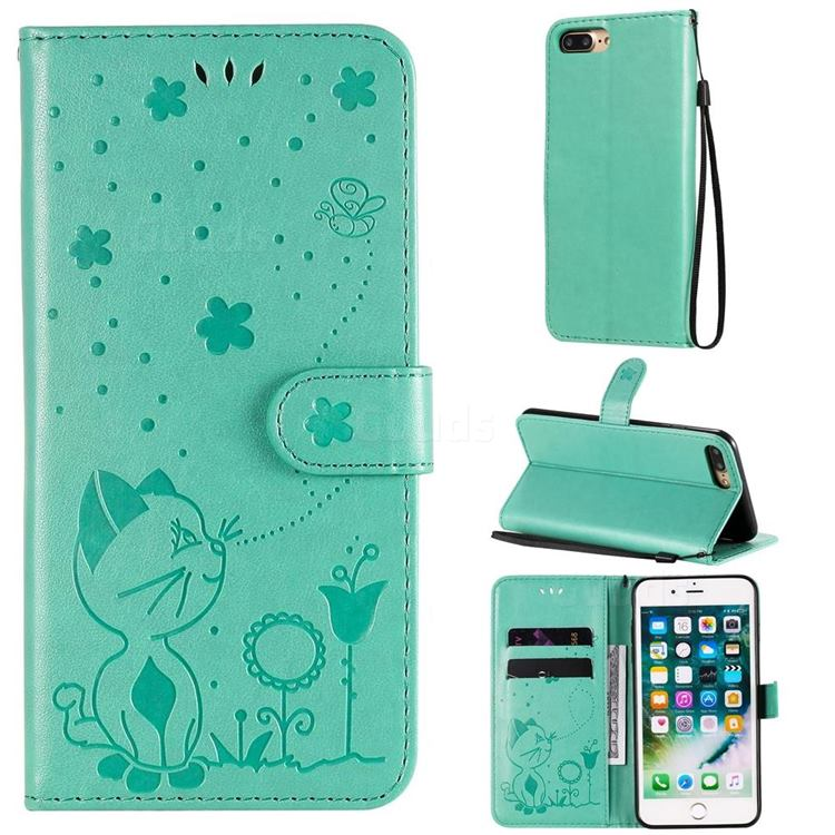 Embossing Bee and Cat Leather Wallet Case for iPhone 8 Plus / 7 Plus 7P(5.5 inch) - Green