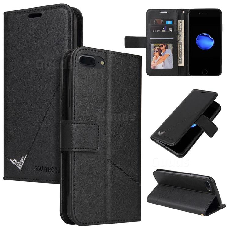 GQ.UTROBE Right Angle Silver Pendant Leather Wallet Phone Case for iPhone 8 Plus / 7 Plus 7P(5.5 inch) - Black