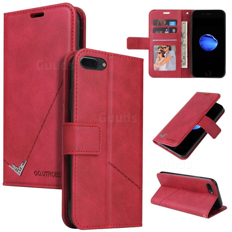 GQ.UTROBE Right Angle Silver Pendant Leather Wallet Phone Case for iPhone 8 Plus / 7 Plus 7P(5.5 inch) - Red