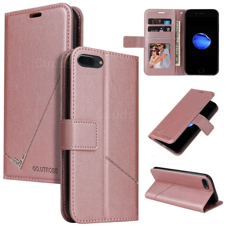GQ.UTROBE Right Angle Silver Pendant Leather Wallet Phone Case for iPhone 8 Plus / 7 Plus 7P(5.5 inch) - Rose Gold