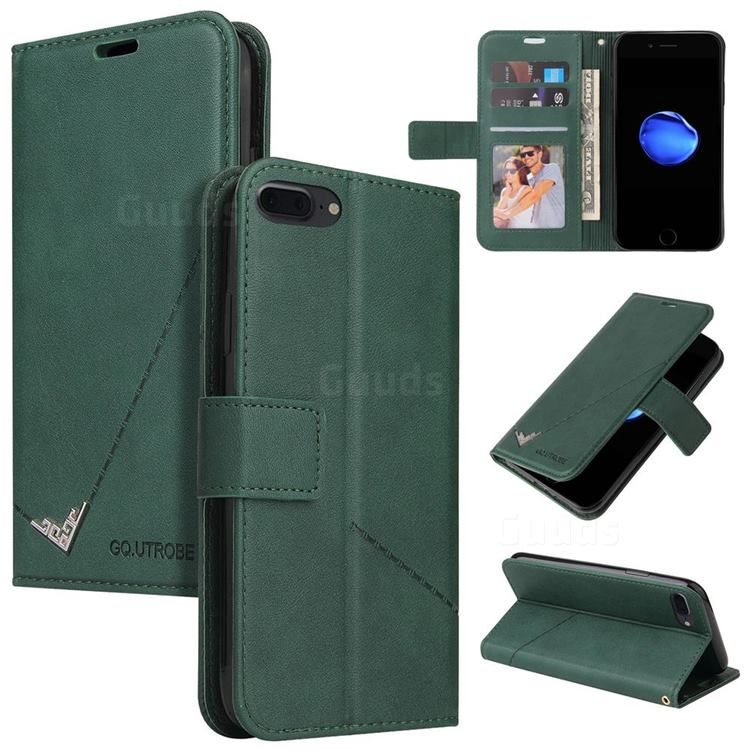 GQ.UTROBE Right Angle Silver Pendant Leather Wallet Phone Case for iPhone 8 Plus / 7 Plus 7P(5.5 inch) - Green