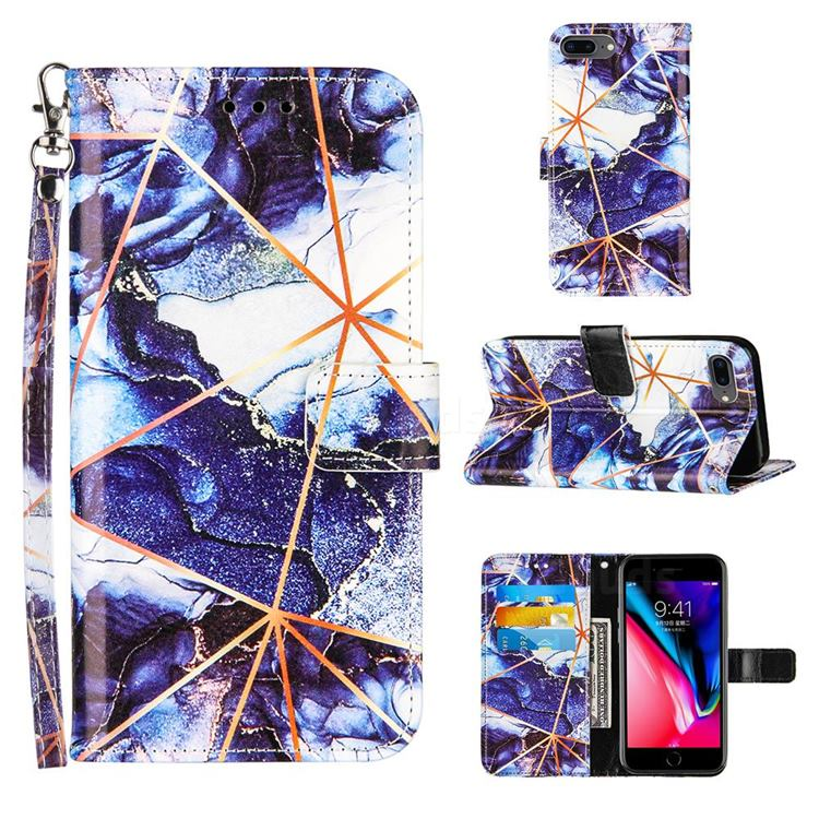 Starry Blue Stitching Color Marble Leather Wallet Case for iPhone 8 Plus / 7 Plus 7P(5.5 inch)