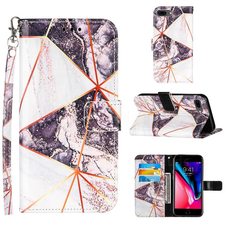 Black and White Stitching Color Marble Leather Wallet Case for iPhone 8 Plus / 7 Plus 7P(5.5 inch)