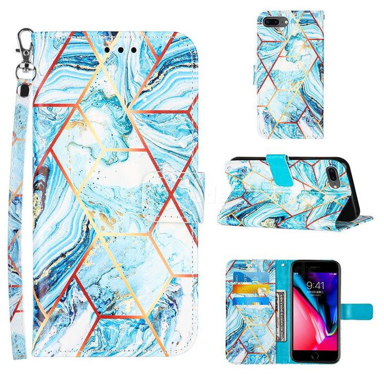 Lake Blue Stitching Color Marble Leather Wallet Case for iPhone 8 Plus / 7 Plus 7P(5.5 inch)