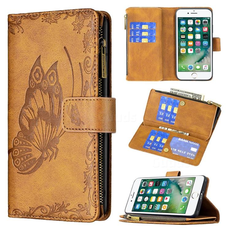 Binfen Color Imprint Vivid Butterfly Buckle Zipper Multi-function Leather Phone Wallet for iPhone 8 Plus / 7 Plus 7P(5.5 inch) - Brown