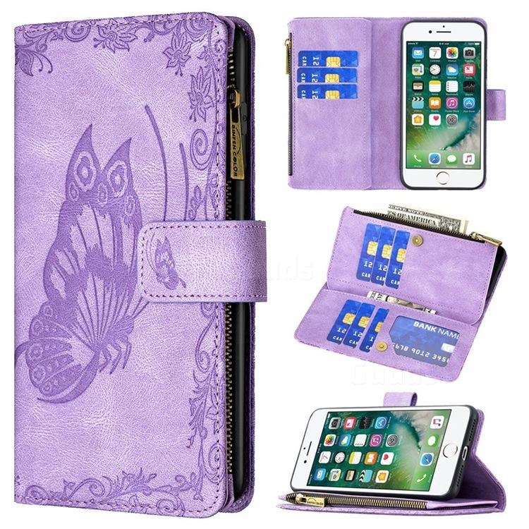 Binfen Color Imprint Vivid Butterfly Buckle Zipper Multi-function Leather Phone Wallet for iPhone 8 Plus / 7 Plus 7P(5.5 inch) - Purple
