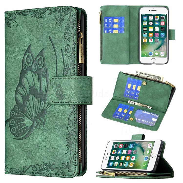 Binfen Color Imprint Vivid Butterfly Buckle Zipper Multi-function Leather Phone Wallet for iPhone 8 Plus / 7 Plus 7P(5.5 inch) - Green