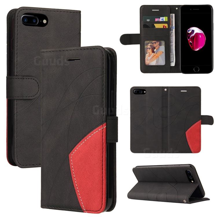 Luxury Two-color Stitching Leather Wallet Case Cover for iPhone 8 Plus / 7 Plus 7P(5.5 inch) - Black