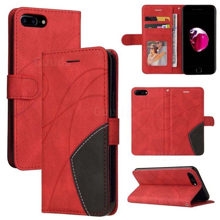 Luxury Two-color Stitching Leather Wallet Case Cover for iPhone 8 Plus / 7 Plus 7P(5.5 inch) - Red