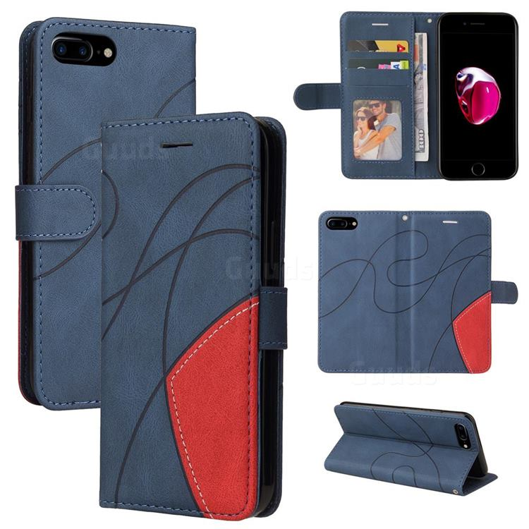 Luxury Two-color Stitching Leather Wallet Case Cover for iPhone 8 Plus / 7 Plus 7P(5.5 inch) - Blue