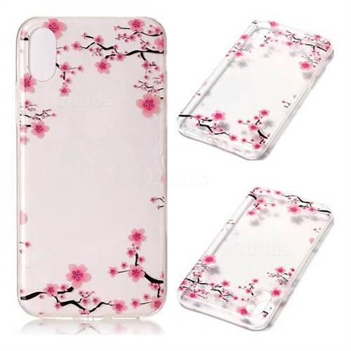 Plum Flower Super Clear Soft TPU Back Cover for iPhone XS / X / 10 (5.8 inch)