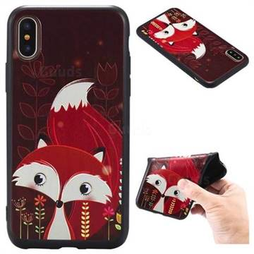 Red Fox 3D Embossed Relief Black TPU Back Cover for iPhone XS / X / 10 (5.8 inch)