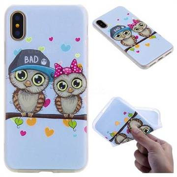 Couple Owls 3D Relief Matte Soft TPU Back Cover for iPhone X(5.8 inch)