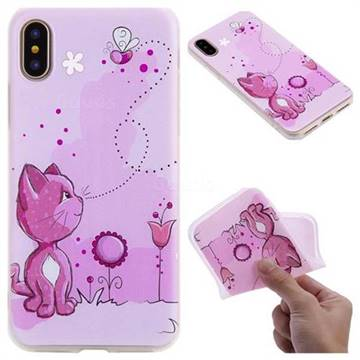 Cat and Bee 3D Relief Matte Soft TPU Back Cover for iPhone X(5.8 inch)