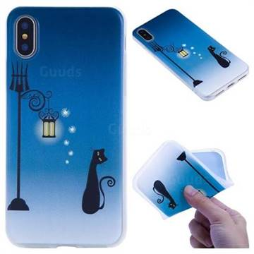 Street Light Cat 3D Relief Matte Soft TPU Back Cover for iPhone XS / X / 10 (5.8 inch)
