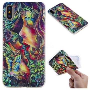 Butterfly Kiss 3D Relief Matte Soft TPU Back Cover for iPhone X(5.8 inch)