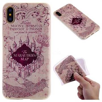 Castle The Marauders Map 3D Relief Matte Soft TPU Back Cover for iPhone XS / X / 10 (5.8 inch)