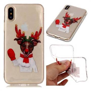 Red Gloves Elk Super Clear Soft TPU Back Cover for iPhone XS / X / 10 (5.8 inch)