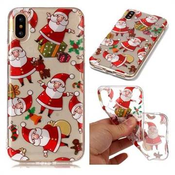 Santa Claus Super Clear Soft TPU Back Cover for iPhone XS / X / 10 (5.8 inch)