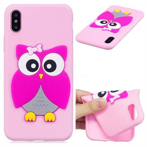 Pink Owl Soft 3D Silicone Case for iPhone XS / X / 10 (5.8 inch)