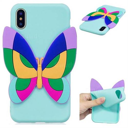 Rainbow Butterfly Soft 3D Silicone Case for iPhone XS / X / 10 (5.8 inch)