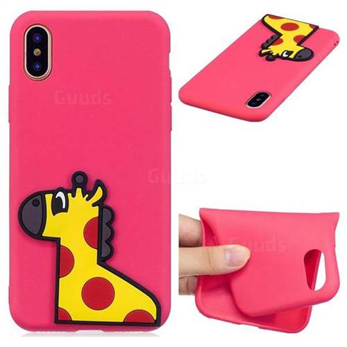 Yellow Giraffe Soft 3D Silicone Case for iPhone XS / X / 10 (5.8 inch)