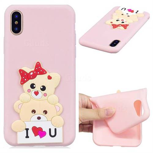 Love Bear Soft 3D Silicone Case for iPhone XS / X / 10 (5.8 inch)