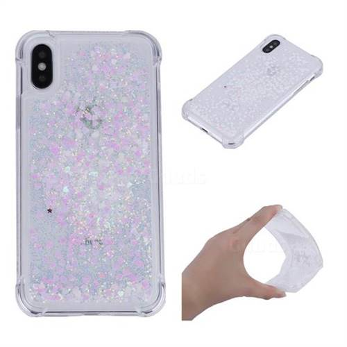 Dynamic Liquid Glitter Sand Quicksand Star TPU Case for iPhone XS / X / 10 (5.8 inch) - Pink
