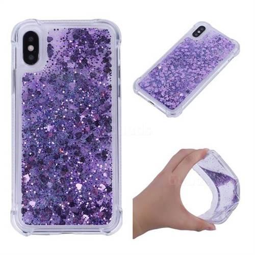 Dynamic Liquid Glitter Sand Quicksand Star TPU Case for iPhone XS / X / 10 (5.8 inch) - Purple