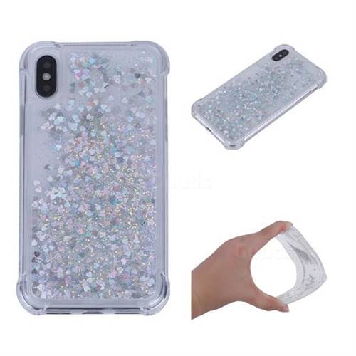 Dynamic Liquid Glitter Sand Quicksand Star TPU Case for iPhone XS / X / 10 (5.8 inch) - Silver