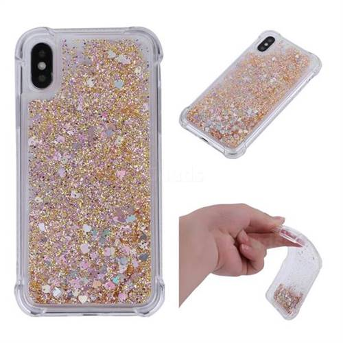 Dynamic Liquid Glitter Sand Quicksand Star TPU Case for iPhone XS / X / 10 (5.8 inch) - Diamond Gold