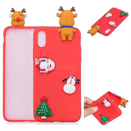 Red Elk Christmas Xmax Soft 3D Silicone Case for iPhone XS / X / 10 (5.8 inch)