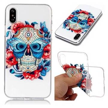 Butterfly Skull Super Clear Soft TPU Back Cover for iPhone X(5.8 inch)