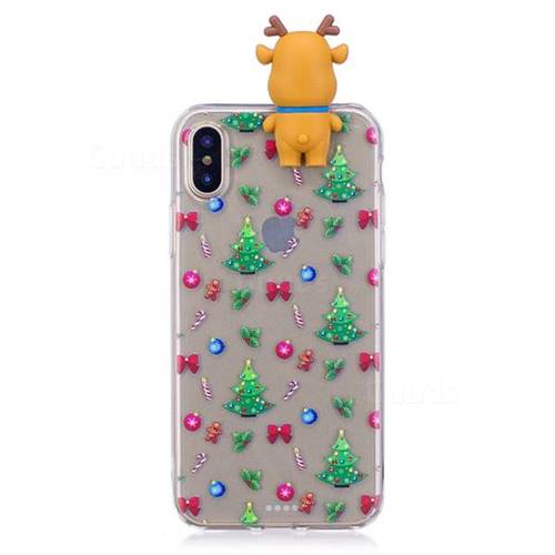 Christmas Bow Soft 3D Climbing Doll Soft Case for iPhone XS / X / 10 (