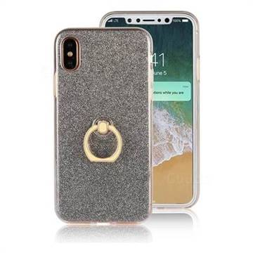 Luxury Soft TPU Glitter Back Ring Cover with 360 Rotate Finger Holder Buckle for iPhone XS / X / 10 (5.8 inch) - Black
