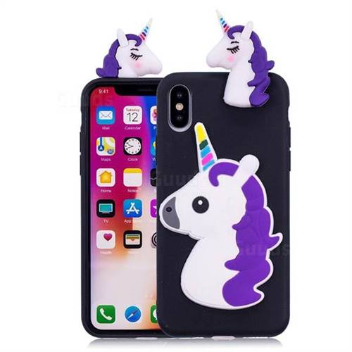 Unicorn Soft 3D Silicone Case for iPhone XS / X / 10 (5.8 inch) - Black