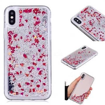 Glitter Sand Mirror Quicksand Dynamic Liquid Star TPU Case for iPhone XS / X / 10 (5.8 inch) - Red