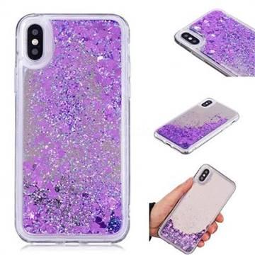 Glitter Sand Mirror Quicksand Dynamic Liquid Star TPU Case for iPhone XS / X / 10 (5.8 inch) - Purple