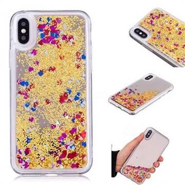 Glitter Sand Mirror Quicksand Dynamic Liquid Star TPU Case for iPhone XS / X / 10 (5.8 inch) - Yellow