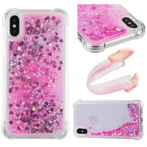 Dynamic Liquid Glitter Sand Quicksand TPU Case for iPhone XS / X / 10 (5.8 inch) - Pink Love Heart